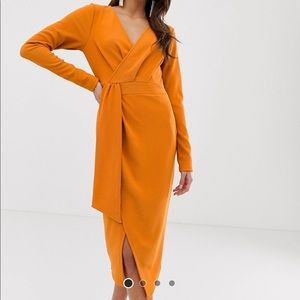 Long sleeve wrap midi dress